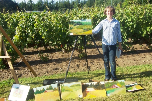 Proud Angelicum student with her display in Washington State