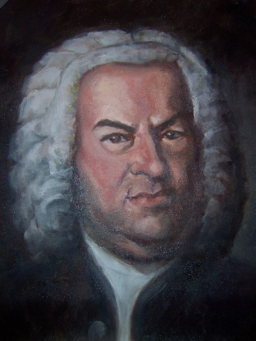 Acrylic Painting of Johann Sebastian Bach by Angelicum Student